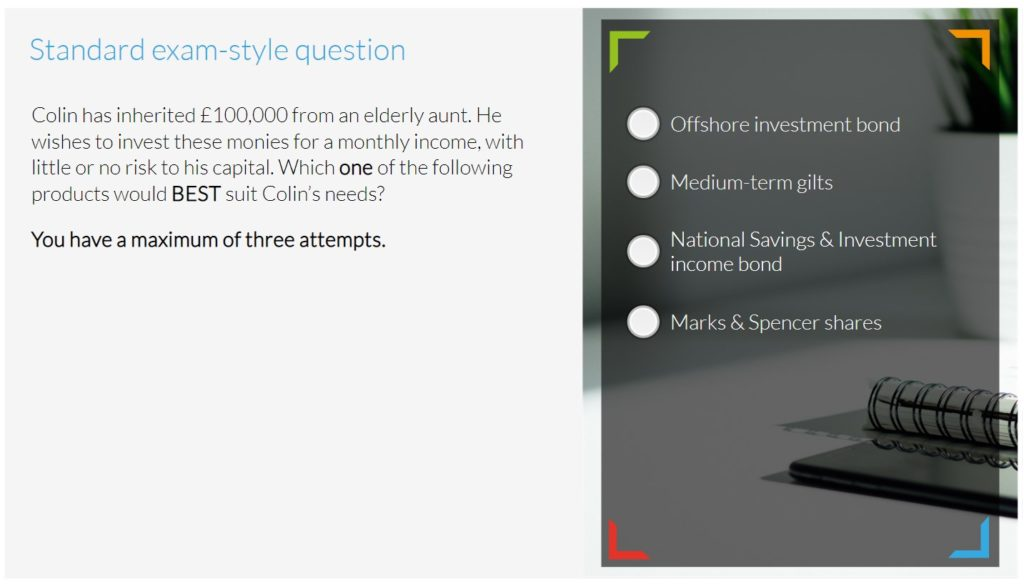 e-Learning R01 exam standard question